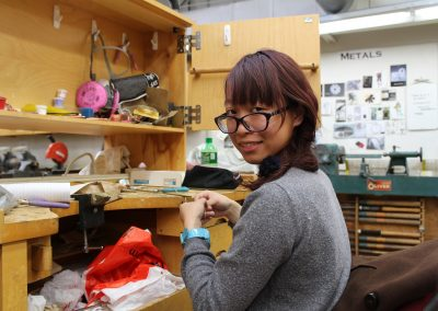 A student works on a project in the Metals class at the George Mosse Building at the University of Wisconsin-Madison.