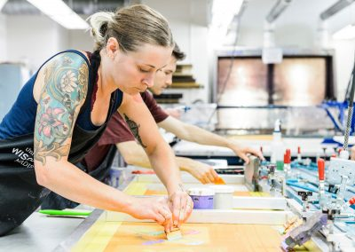 Students work in the printmaking labs in Mosse Humanities Building at the University of Wisconsin-Madison during assistant professor Emily Arthur's Serigraphy course.