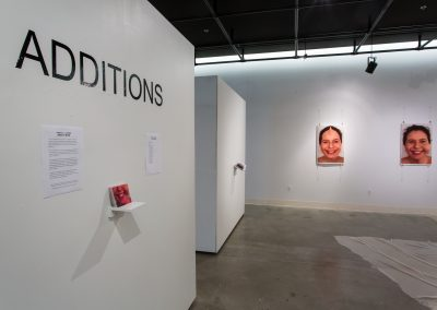Installation view of Rebecca Lessen's Master of Fine Arts Exhibition at Gallery 7, University of Wisconsin-Madison.