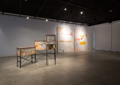 "Installation view of Susanne Torres's Master of Fine Arts Exhibition, ""Wastelands"". Art Department, Art Lofts Gallery, University of Wisconsin-Madison."