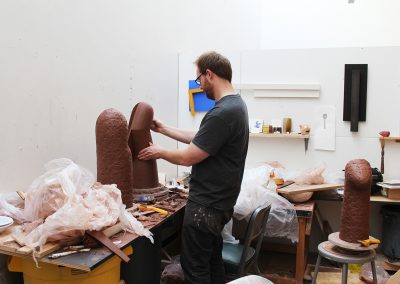 Graduate student John Shea works on a sculpture in his studio at the Art Department, University of Wisconsin-Madison.