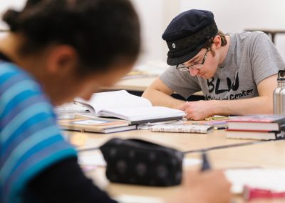Undergraduate Clay Van Mell works on a drawing during a Making Comics class taught by Lynda Barry at the Mosse Humanities Building at the University of Wisconsin-Madison.