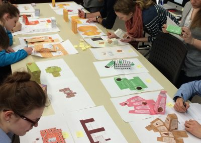 Students work on packaging projects for their graphic design class at the Mosse Humanities Building at the University of Wisconsin-Madison.