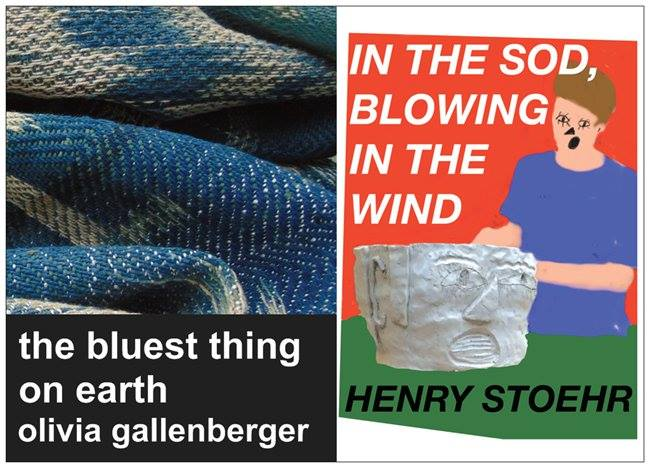 "The Train Car Gallery presents: ""the bluest thing on earth"" by Olivia Gallenberger and ""In the Sod, Blowing in the Wind"" by Henry Stoehr"