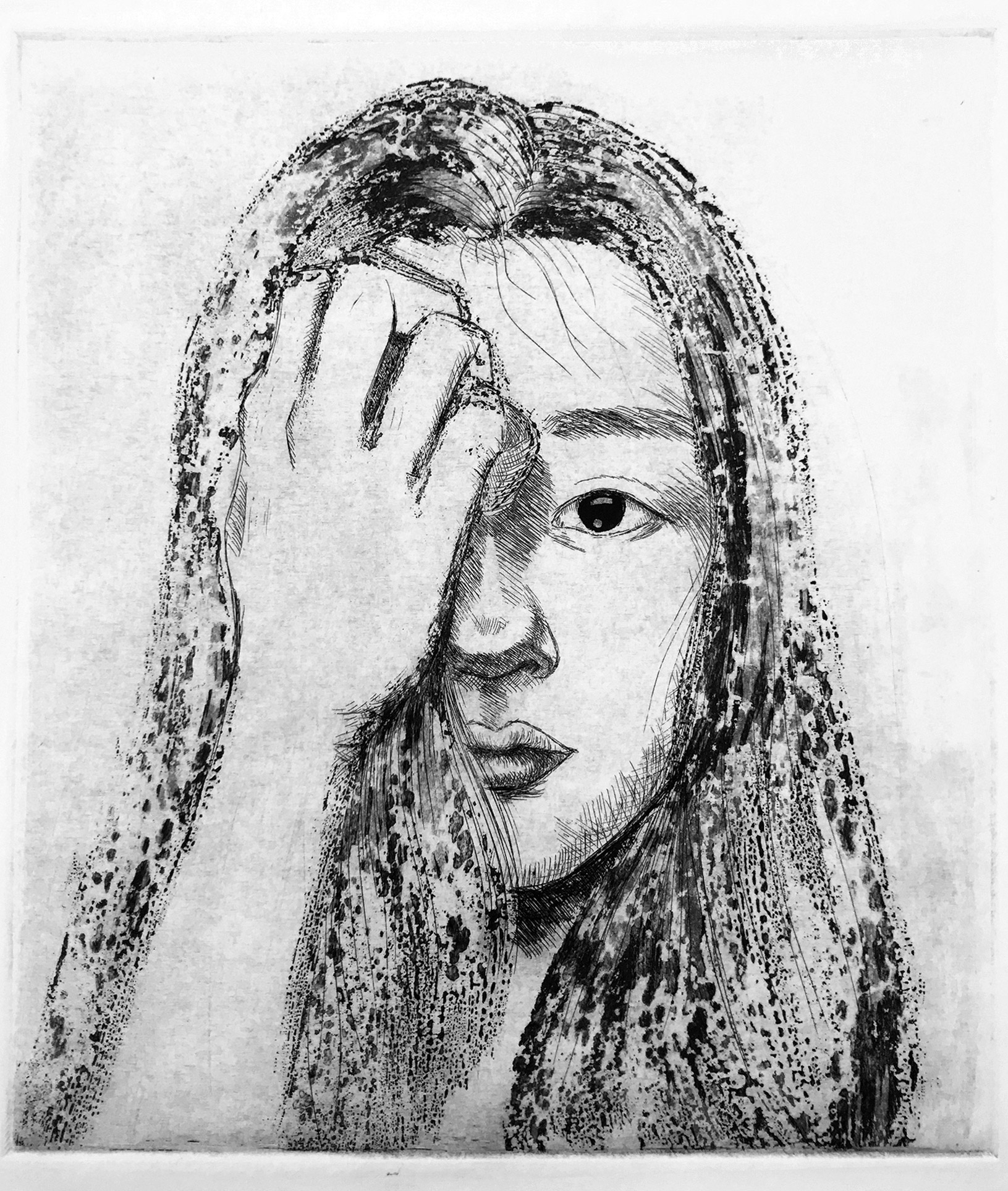 Liqi Sheng, etching self portrait