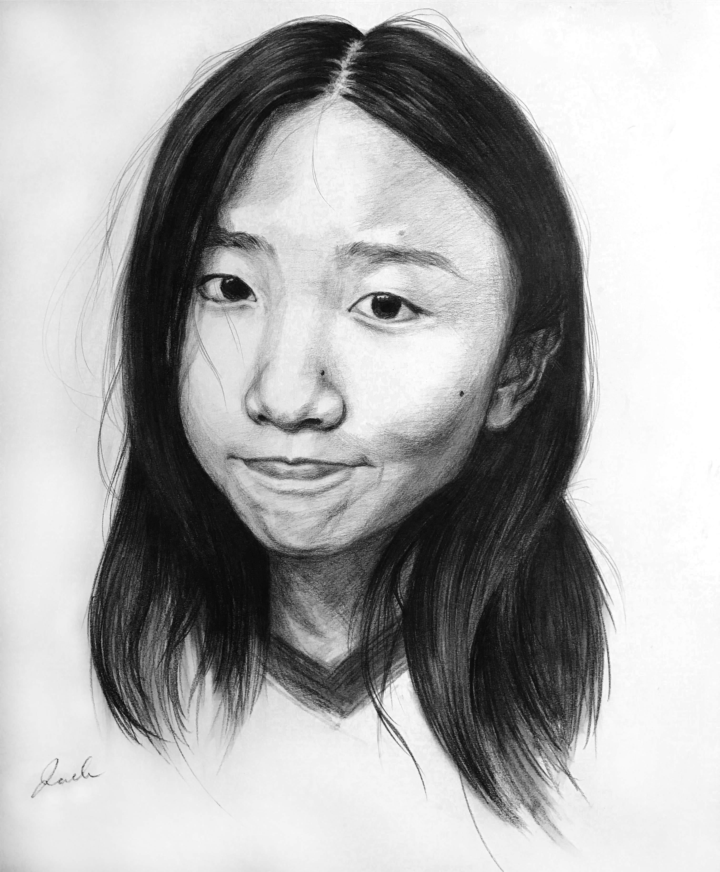 Liqi Sheng, shy girl charcoal