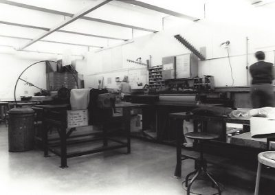 A view of the printmaking labs in the George L. Mosse Humanities Building.
