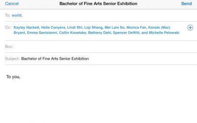 Sent from my iPhone: BFA Senior Exhibition