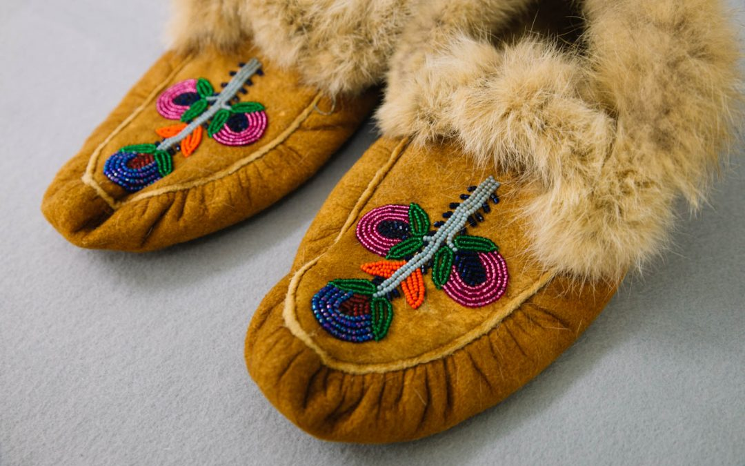 Banner image of Native American beadwork moccasins.