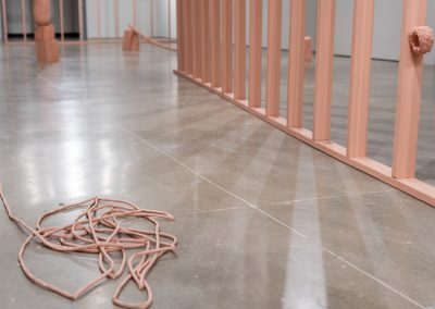 """Wrapped around my finger,"" sculpture art from Eric Ford's Master of Fine Arts exhibition Pink at the Gallery 7 of the Humanities Building, University of Wisconsin-Madison. Photography by Kyle Herrera."