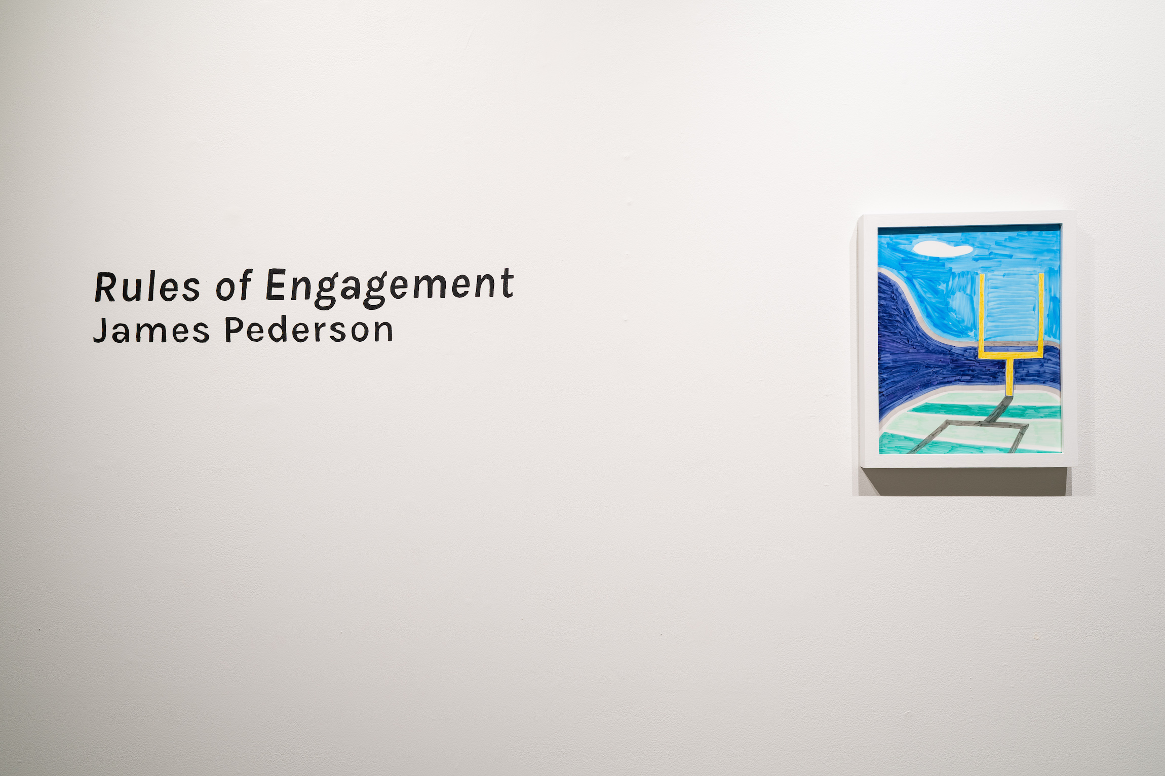 Installation view of James Pederson's Master of Fine Arts exhibition Rules of Engagement at the Gallery 7 of the Humanities Building, University of Wisconsin-Madison. Photography by Kyle Herrera.