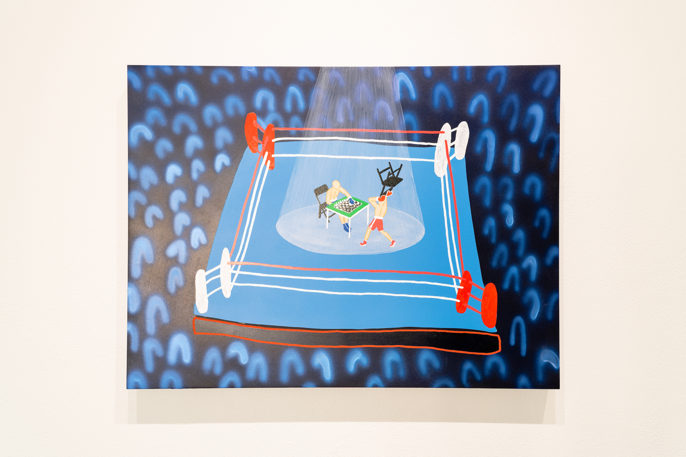 """The Mystery of Chessboxing,"" painting from James Pederson's Master of Fine Arts exhibition Rules of Engagement at the Gallery 7 of the Humanities Building, University of Wisconsin-Madison. Photography by Kyle Herrera."