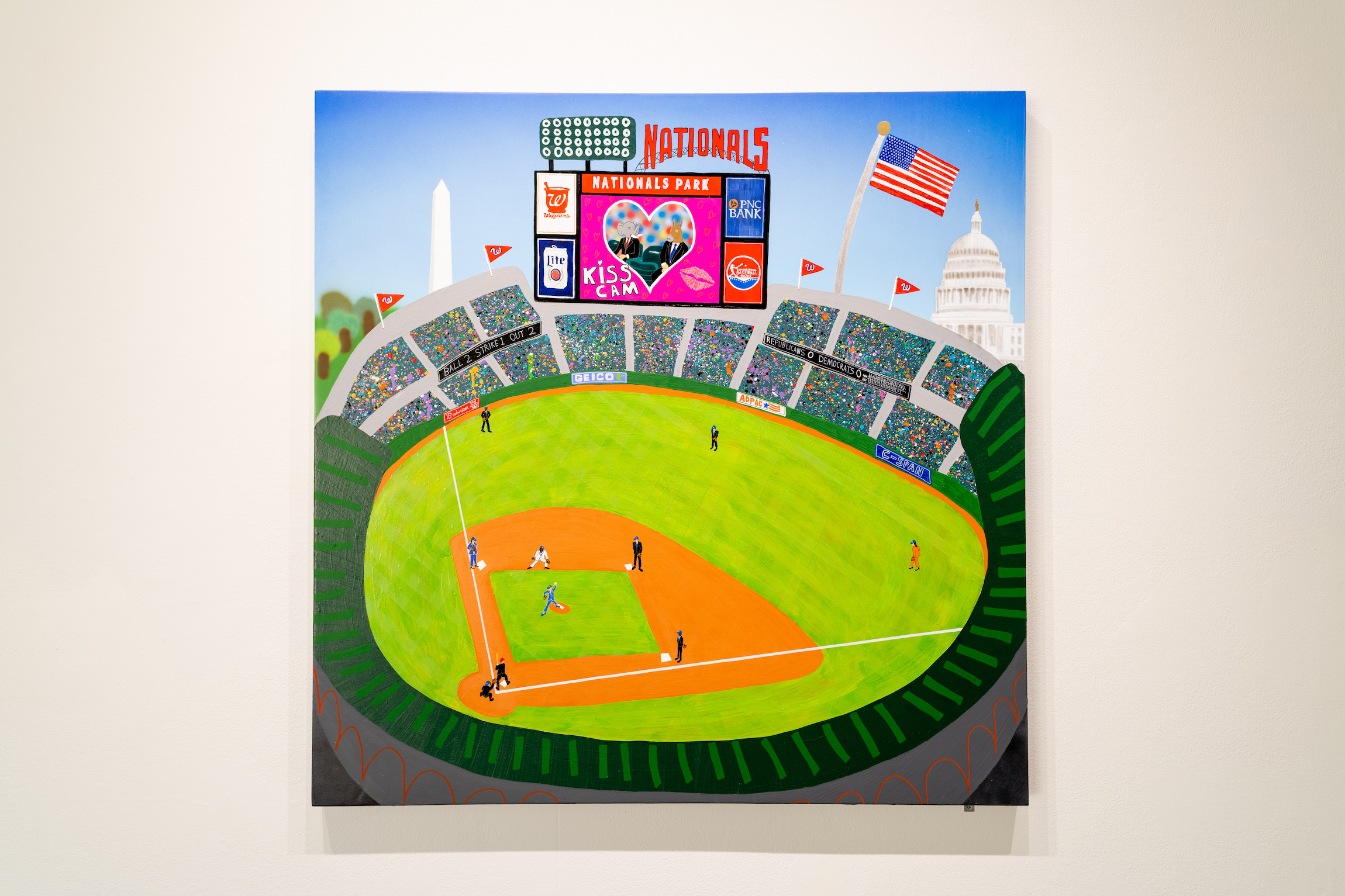 """Congressional Baseball Game,"" 2019, painting from James Pederson's Master of Fine Arts exhibition Rules of Engagement at the Gallery 7 of the Humanities Building, University of Wisconsin-Madison. Photography by Kyle Herrera."
