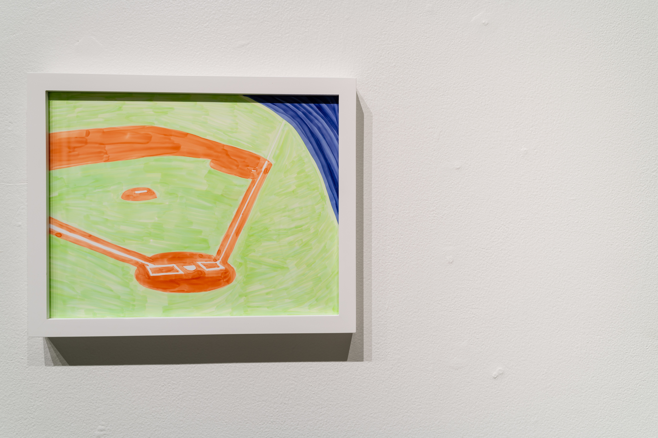 """Infield,"" Marker on yupo paper, 2019, from James Pederson's Master of Fine Arts exhibition Rules of Engagement at the Gallery 7 of the Humanities Building, University of Wisconsin-Madison. Photography by Kyle Herrera. from James Pederson's Master of Fine Arts exhibition Rules of Engagement at the Gallery 7 of the Humanities Building, University of Wisconsin-Madison. Photography by Kyle Herrera."