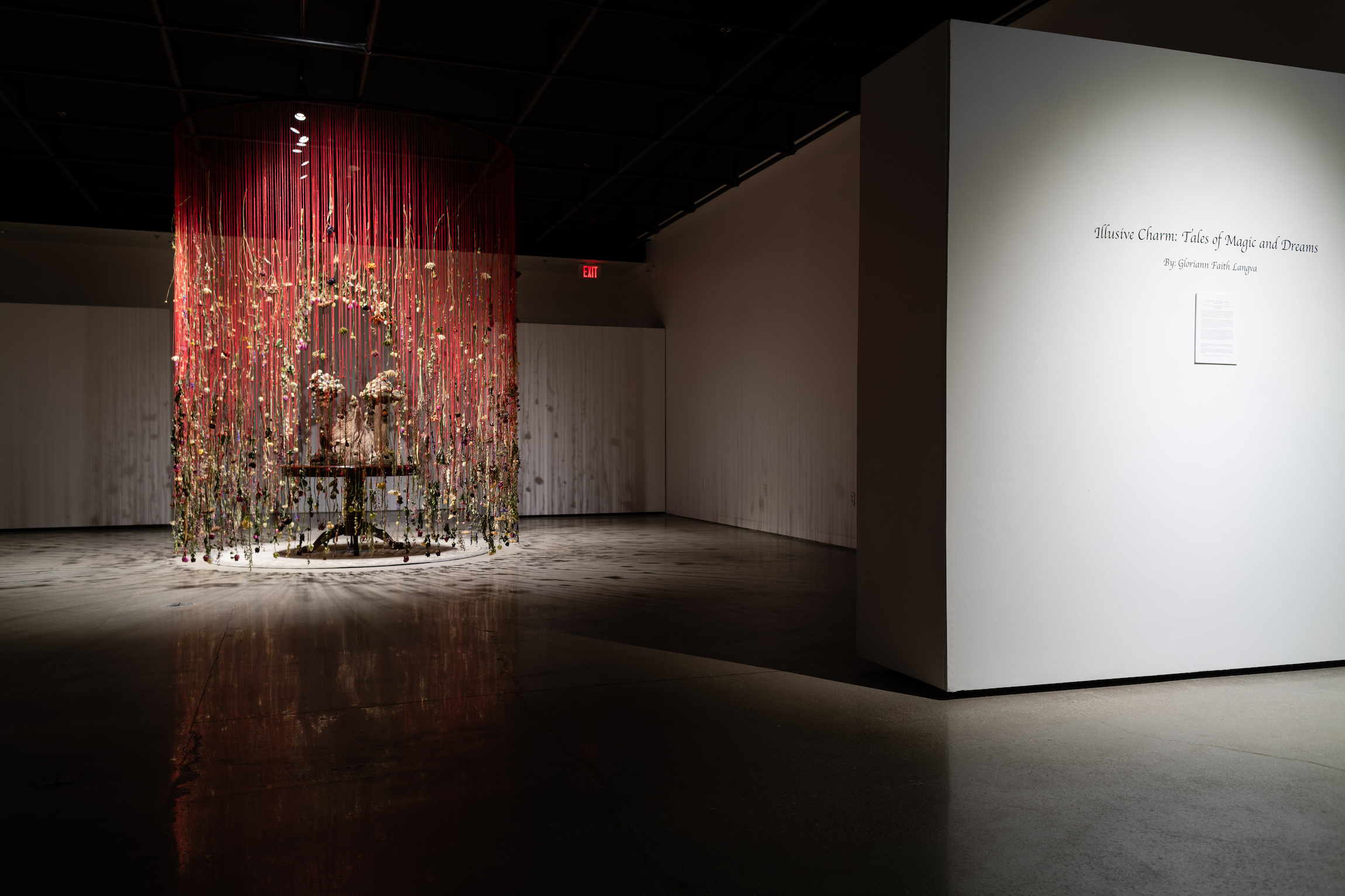 Installation view of Gloriann Langva's Master of Fine Arts exhibition Illusive Charm: Tales of Magic and Dreams at the Art Lofts Gallery, University of Wisconsin-Madison. Photography by Kyle Herrera.