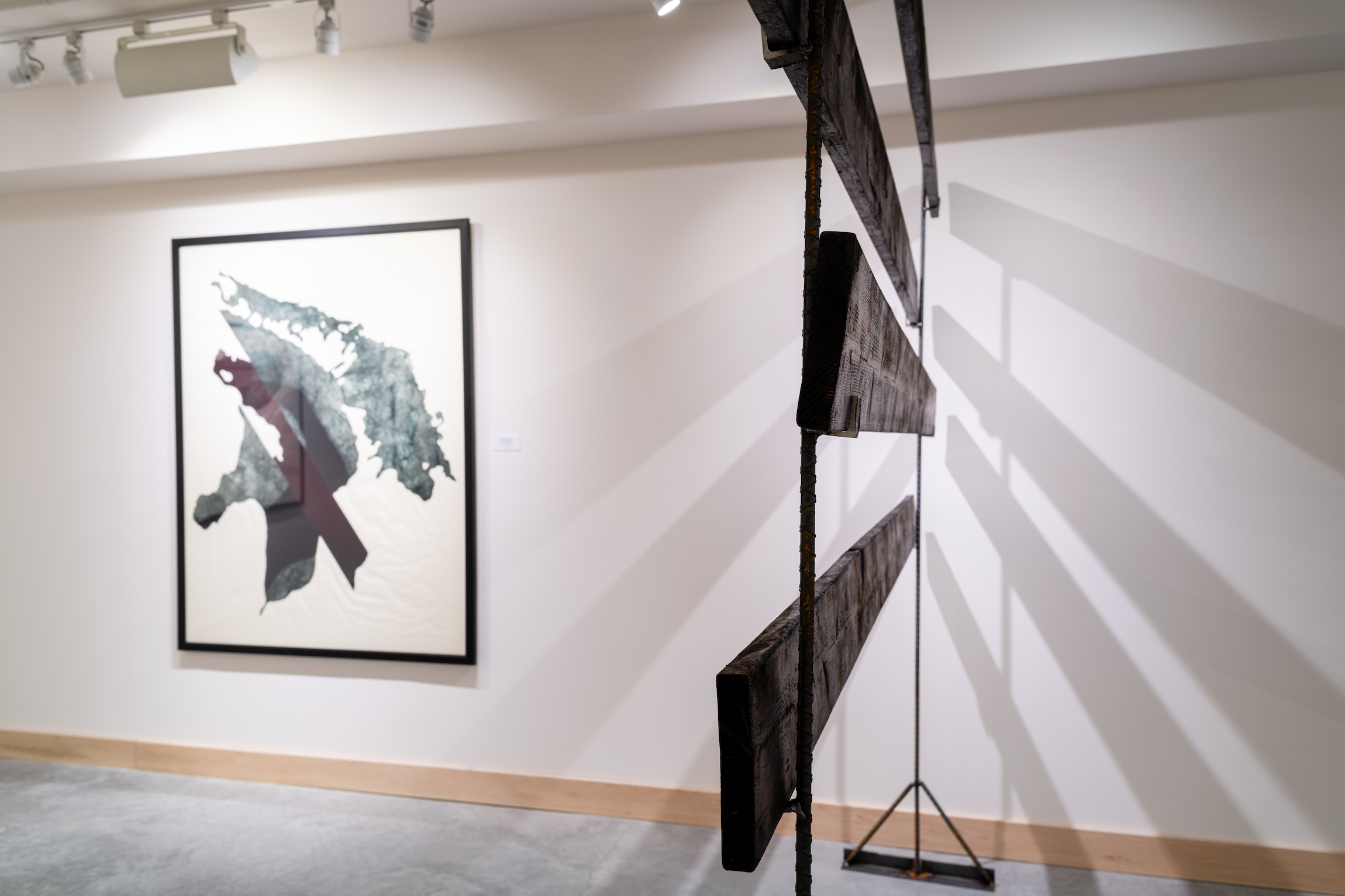 Installation view of Carissa Kalia Heinrichs' Master of Fine Arts exhibition As the Crow Flies at the Apex Gallery of Tandem Press, University of Wisconsin-Madison. Photography by Kyle Herrera.