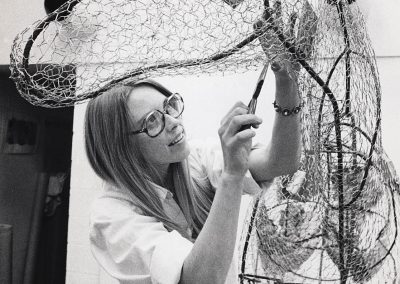 In March of 1976, art professor Deborah Butterfield works on a wire sculpture frame.
