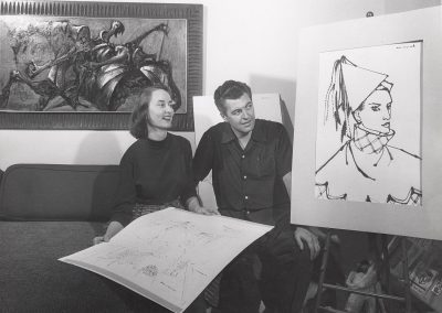 In September of 1952, Dean Meeker, associate professor of art education, and wife Dorthy Zupancich Meeker examine artwork.