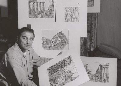 Santos Zingale poses with several of his pieces. Professor Zingale joined the Art Department of the University of Wisconsin-Madison in 1946 where he taught painting and drawing until his retirement in 1978.