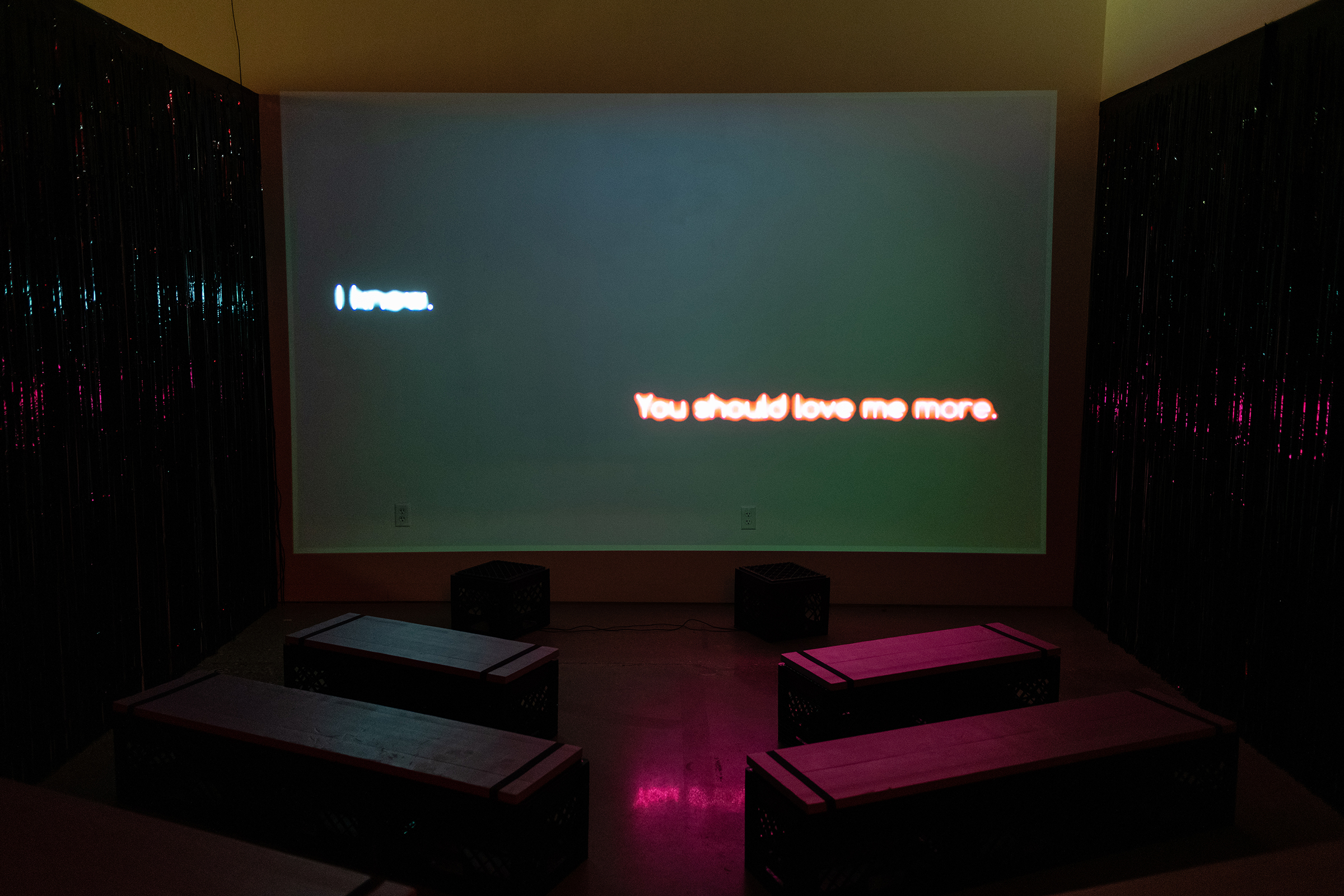 """I Am Conducting Innocent Passage in the Territorial Sea,"" digital video (55 minutes), from Anders Zanichkowsky's Master of Fine Arts exhibition You Are Running Into Danger at the Art Lofts Gallery, University of Wisconsin-Madison. Photography by Kyle Herrera."