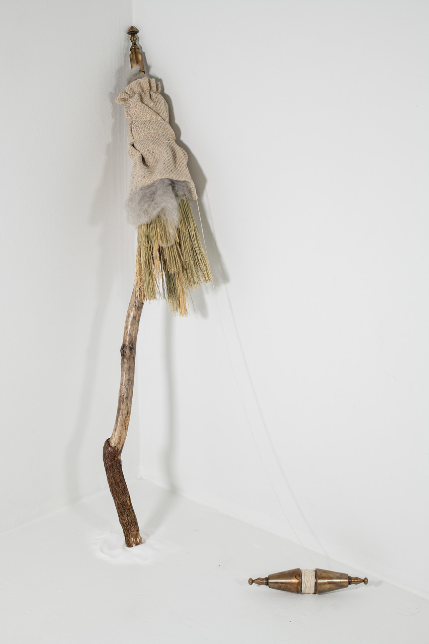 Distaffectionate, Broomcorn, twine, wood, brass, sterling silver, raw and woven wool, salt art metals sculpture by Cate Richards.