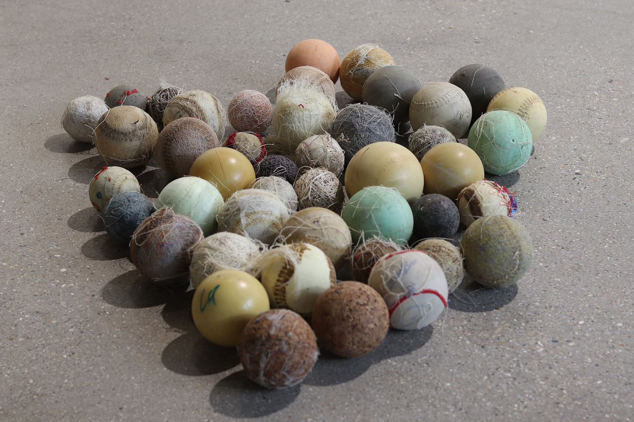 Floor Balls detail, Mixed media installation art by Taylor Kurrle.