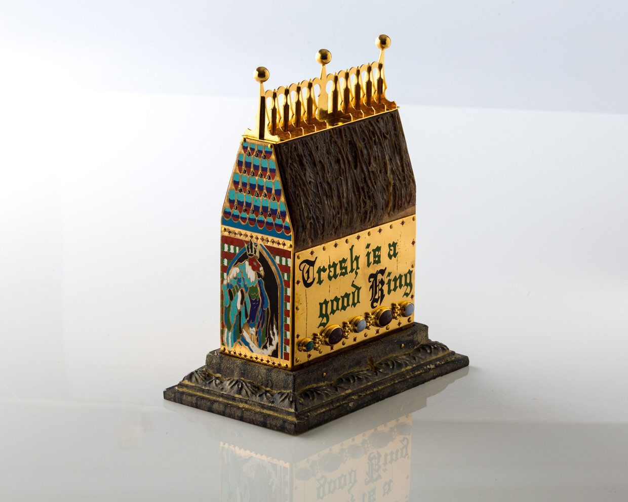Reliquary of Limoges, 24 K. gold plated copper, vitreous enamel, aluminum, synthetic sapphire, synthetic ruby, agate, malachite, deer sinew, hydro-graphic film, red oak sculpture by Lucas Pointon.