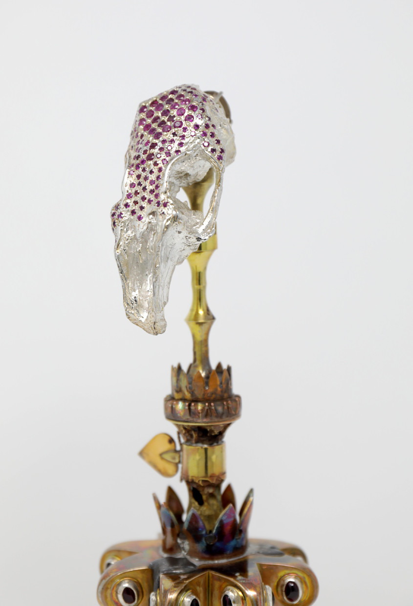 Monstrance of Pete detail, sterling silver, bronze, brass, lead, synthetic ruby, smoky quartz, garnet sculpture by Lucas Pointon.
