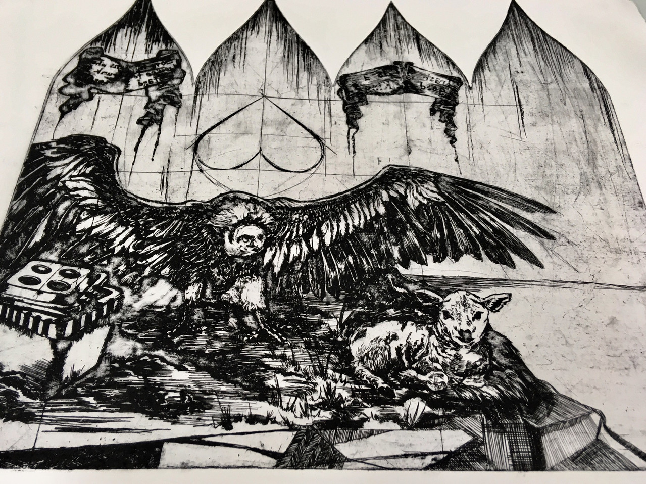 Trash is a Good King, etching by Lucas Pointon.