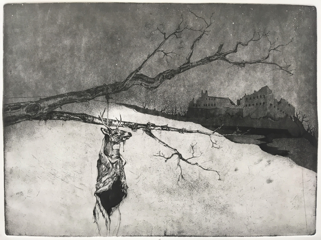 Pennsylvania Winter, etching by Lucas Pointon.