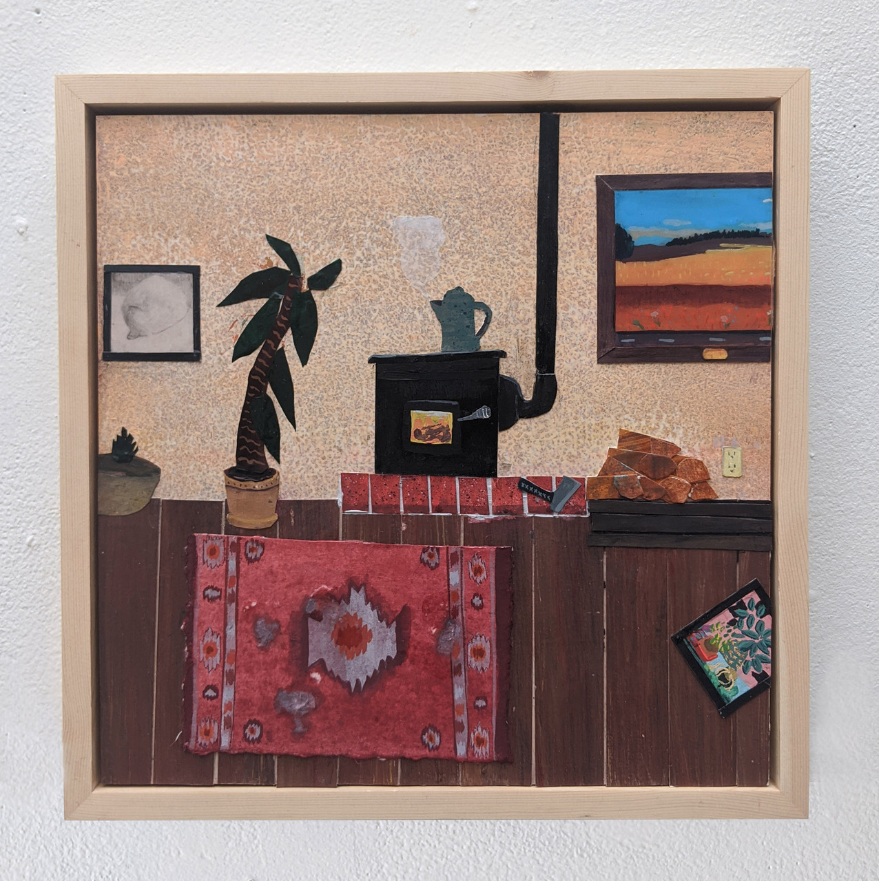 The Red Room, Collage On Board by Abrahm Guthrie.