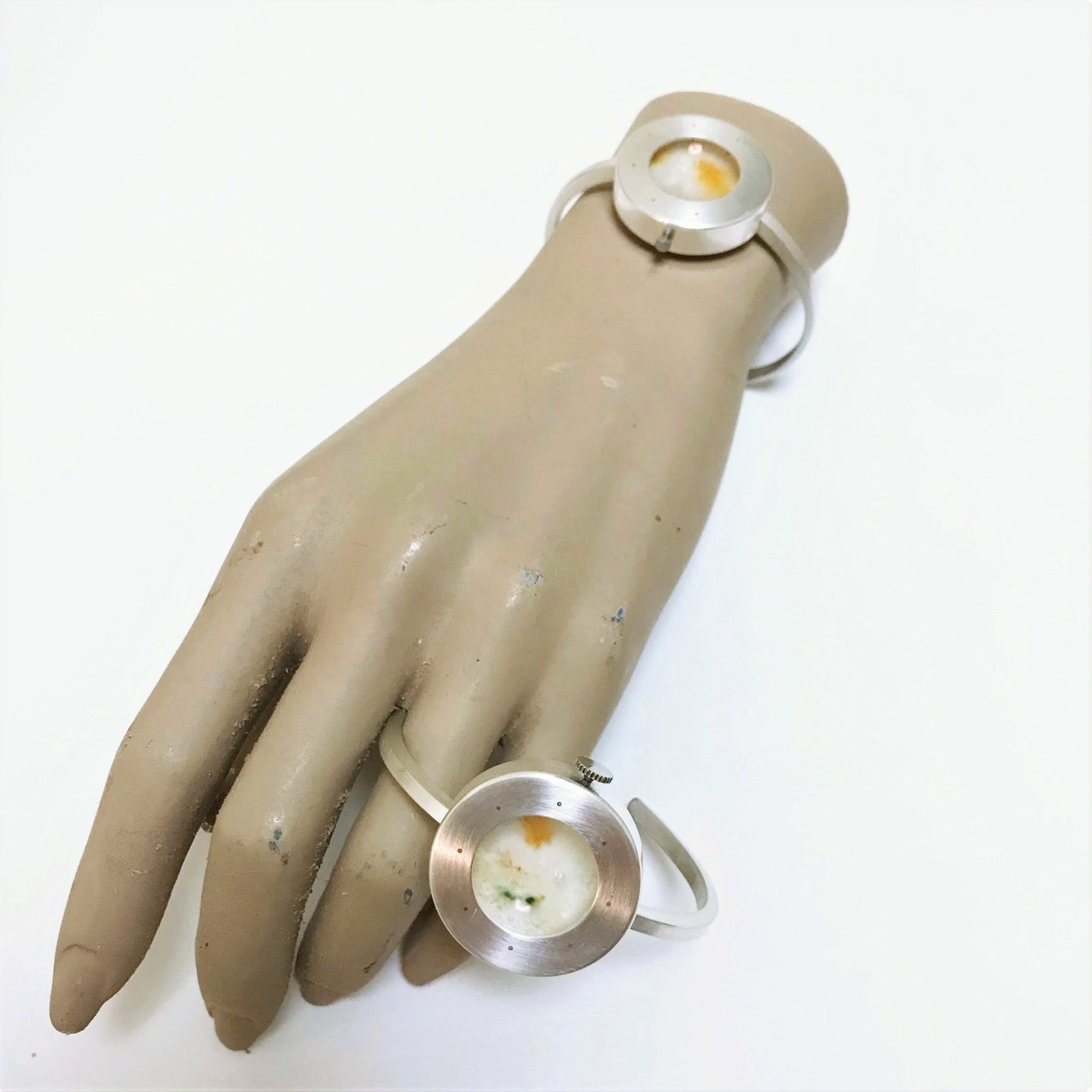 Wearable Microbes 2: Luxury Filth, wearable silver petri dish microbe bracelets by Stacy Lynne Motte.