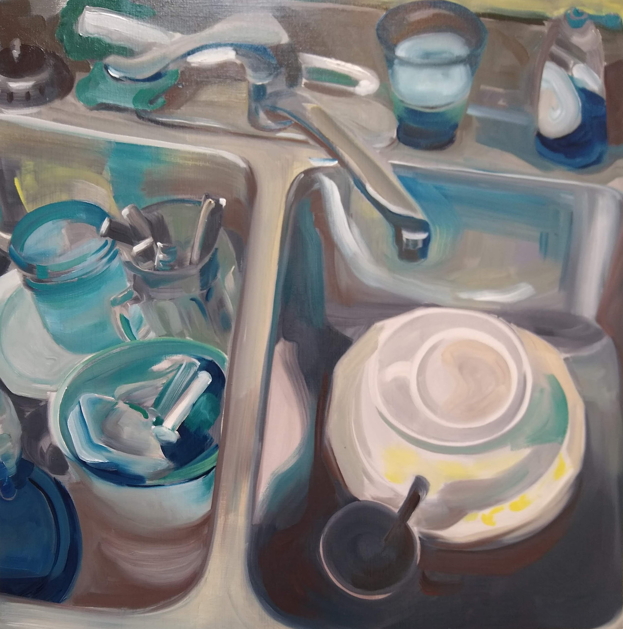 Countertop Still Life 2/16/20 painting by Noël Ash.