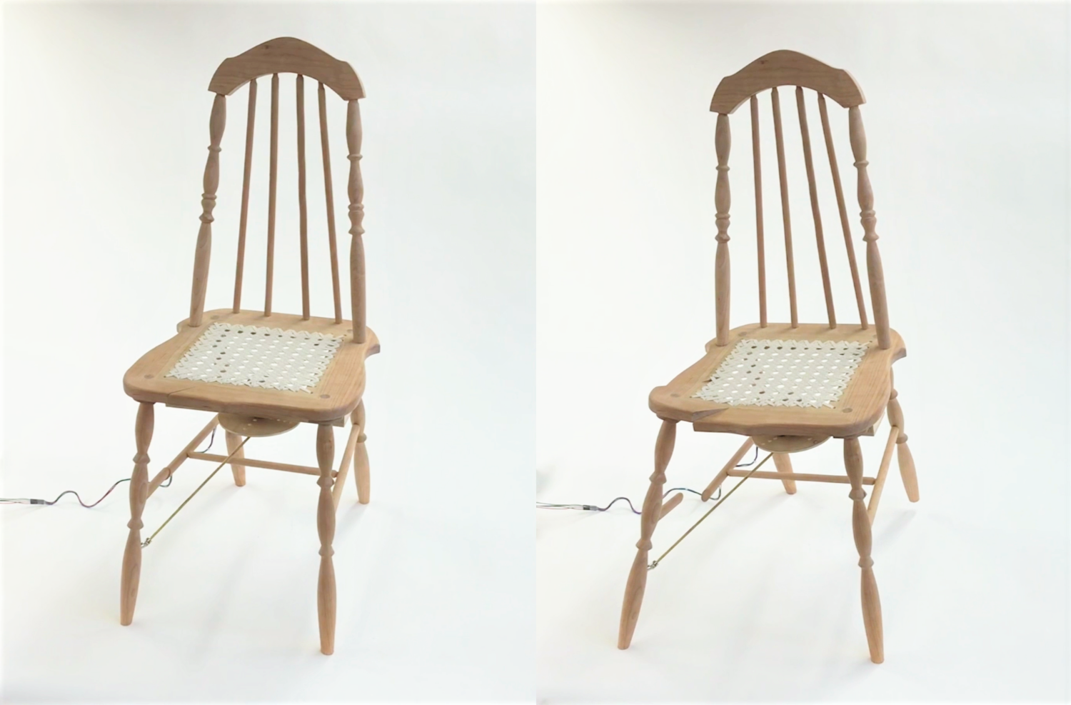 Video stills of Miss Manners, an animatronic wicker chair furniture sculpture by Stacy Lynne Motte.