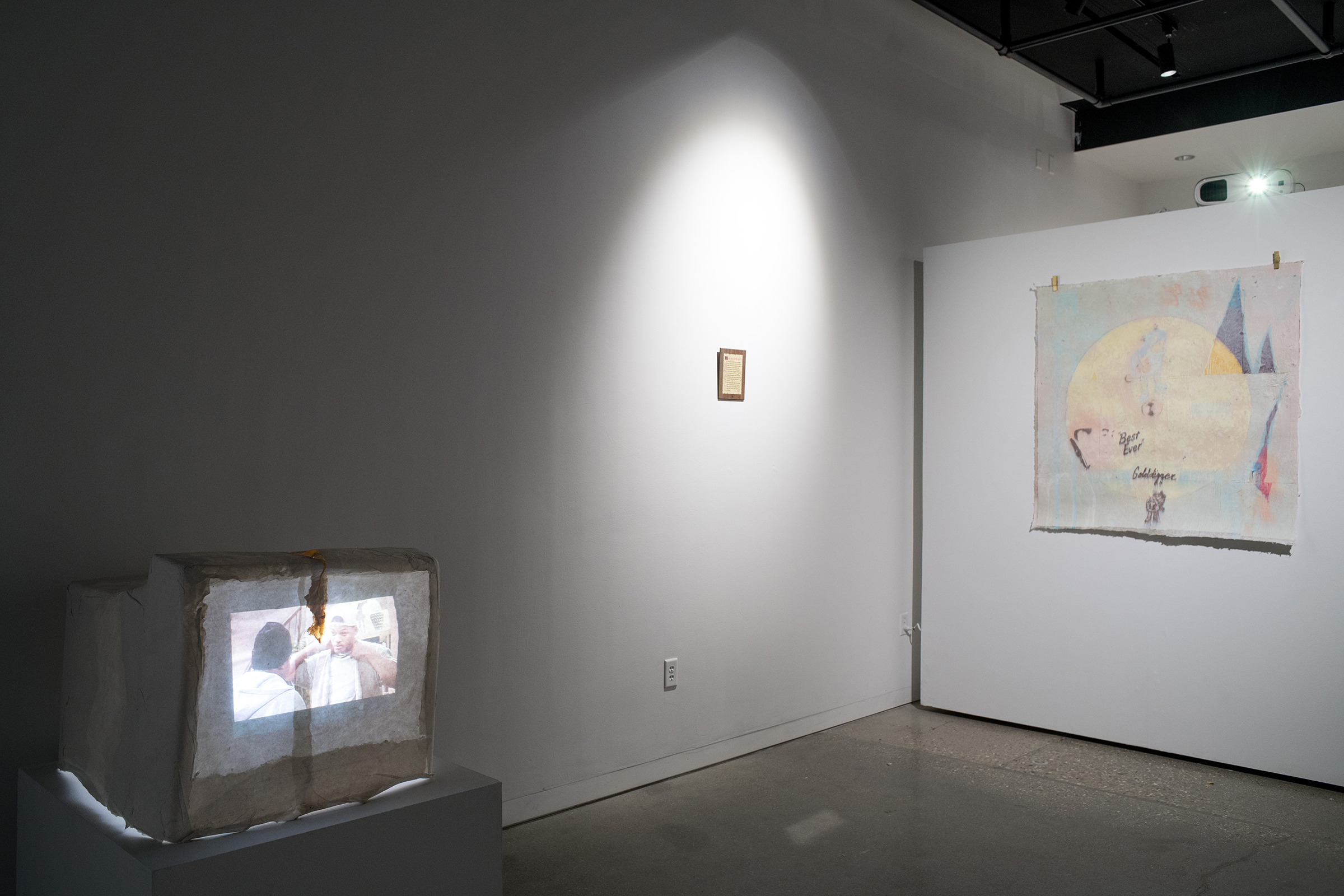 Installation view of Familiar Words Between Good and Bad Master of Fine Arts Exhibition by Kayla Story. Photography by Kyle Herrera.