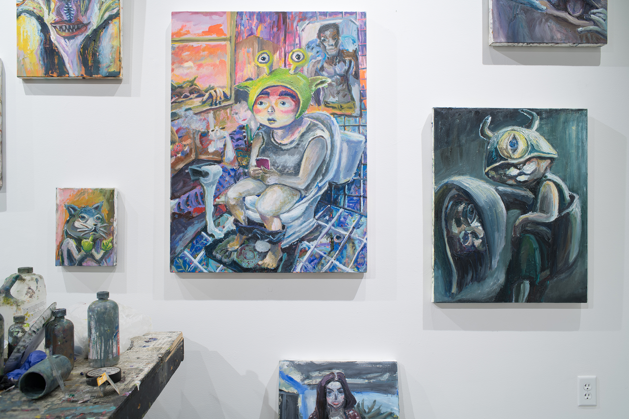 Installation view of A Cosmology of Monsters Master of Fine Arts Exhibition by Tzu Lun Hwang in the Art Lofts Gallery. Photography by Kyle Herrera.