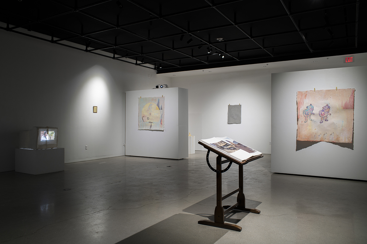 Installation view of Familiar Words Between Good and Bad Master of Fine Arts Exhibition by Kayla Story