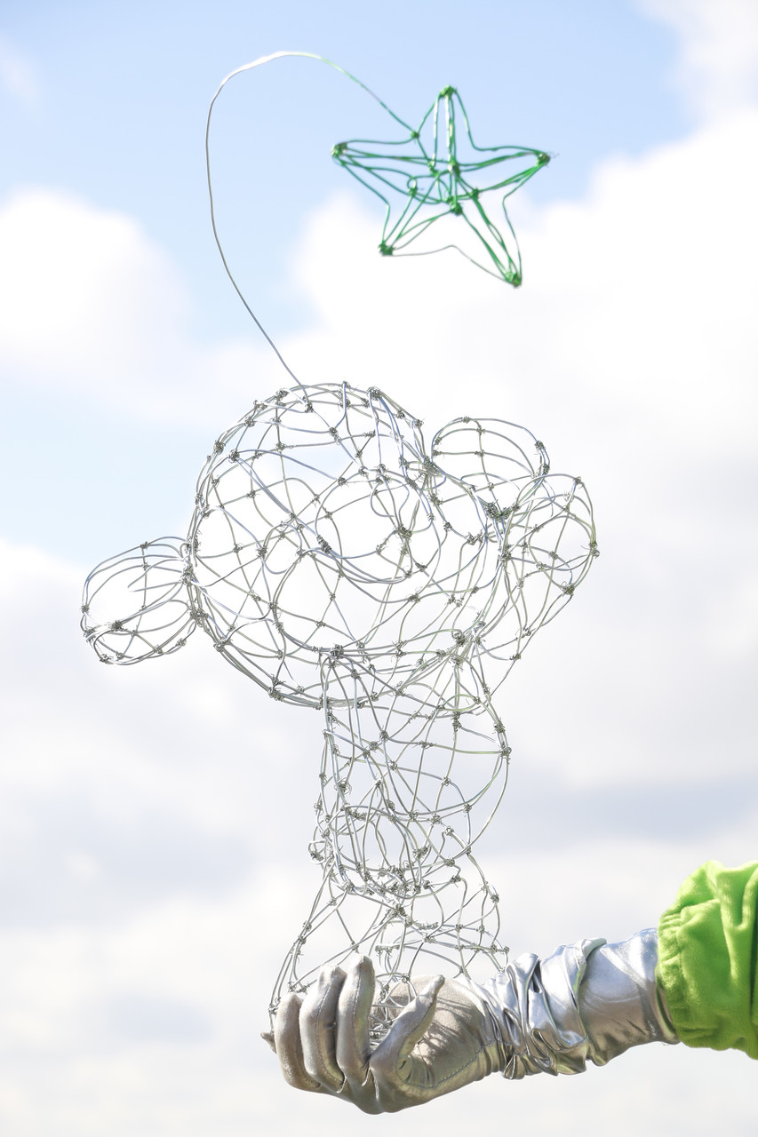 Bardo, Wire and spray paint sculpture by Yoshinori Asai.