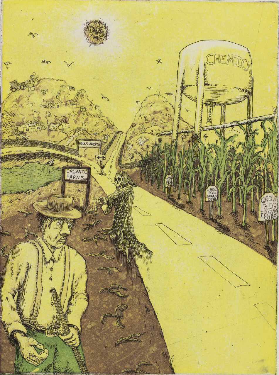 Bad Soil Blues, 4-plate etching by Derek Hibbs.