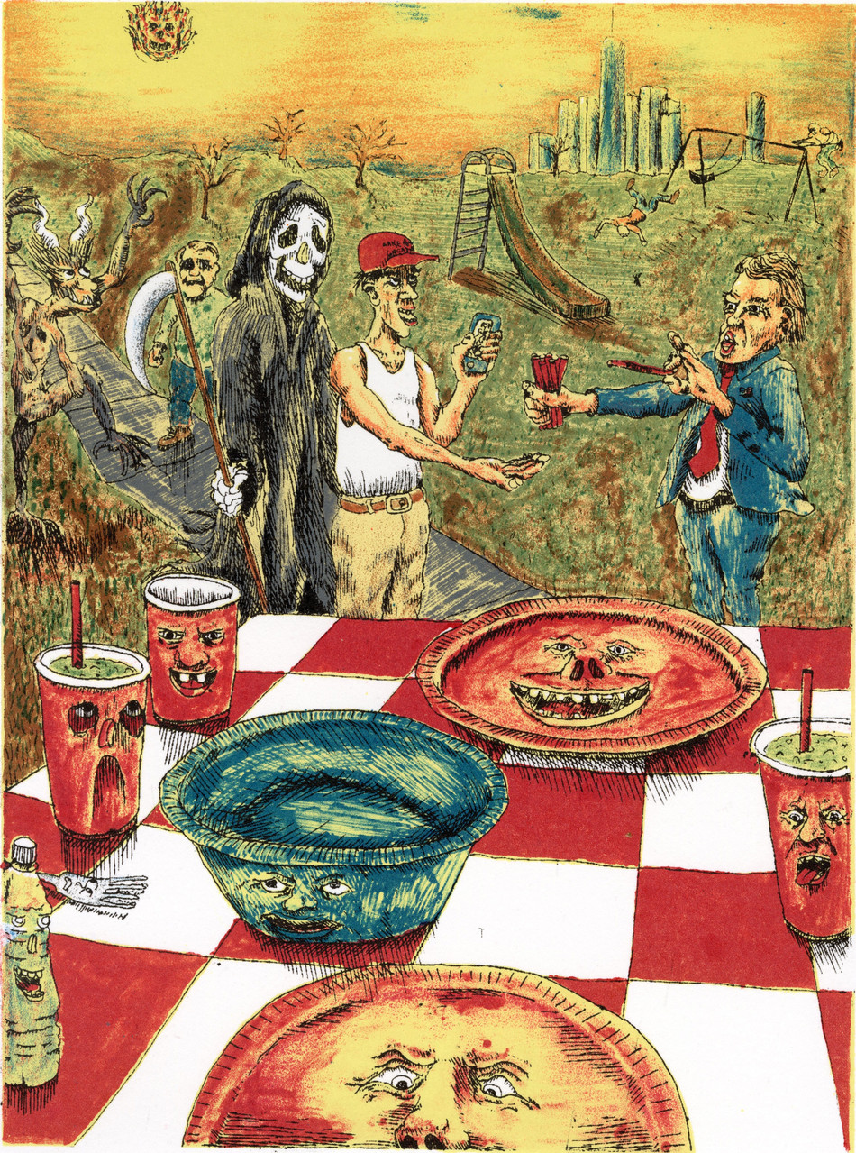 The Plastic Picnic, 8-color lithograph by Derek Hibbs.