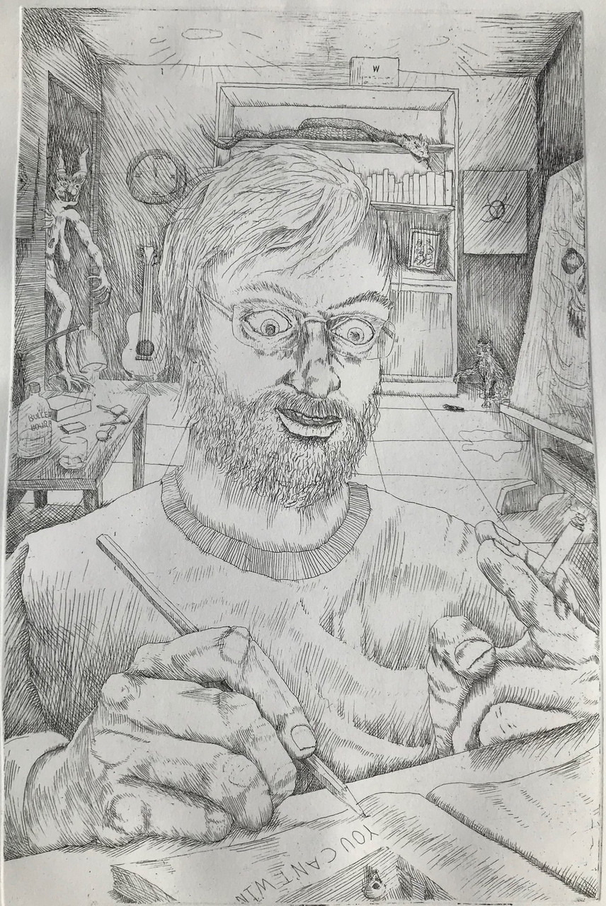 Self Portrait 2020/Artist In The Studio, etching by Derek Hibbs.