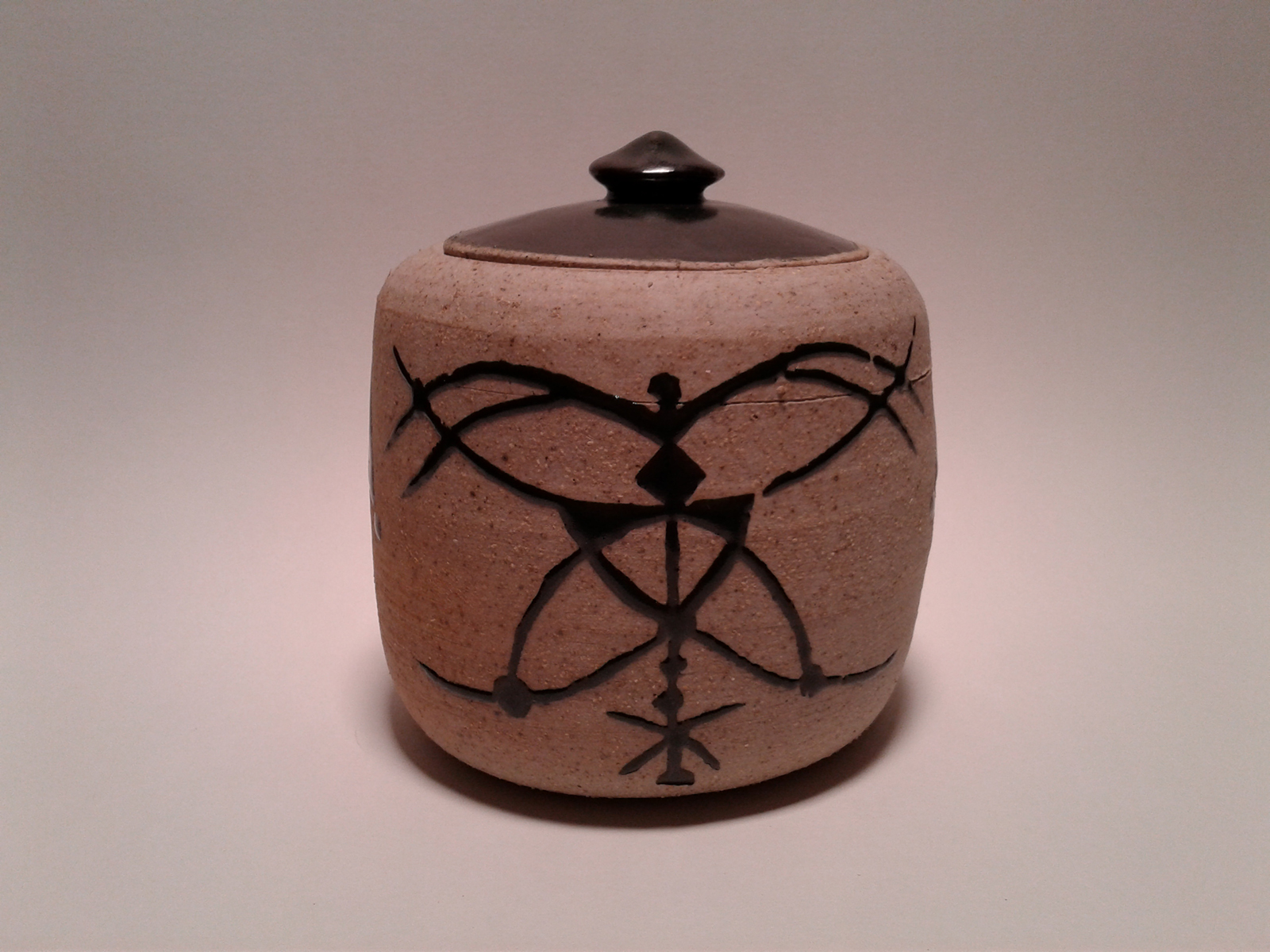 Lepidoptera, clay ceramic jar by Abby Louise Showers.