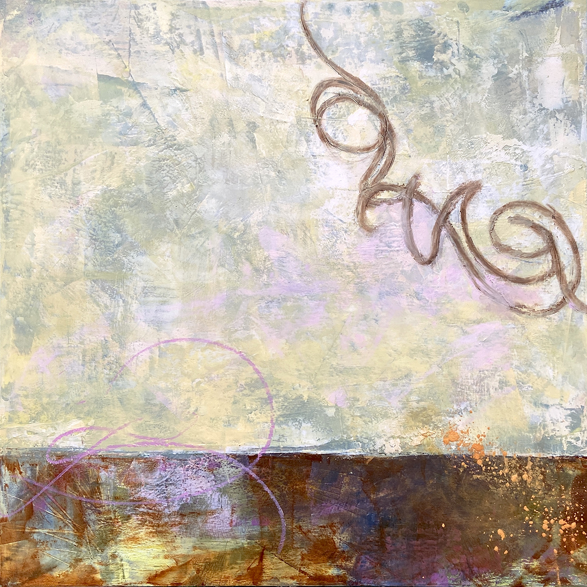 Entanglement, oil and cold wax painting by Elizabeth Shaw Neviaser.