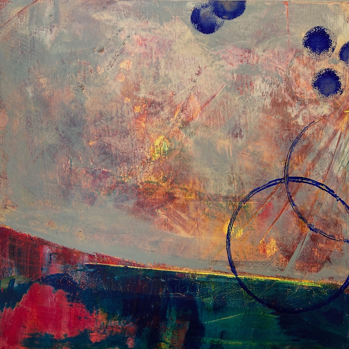 Horizons, oil and cold wax painting by Elizabeth Shaw Neviaser.