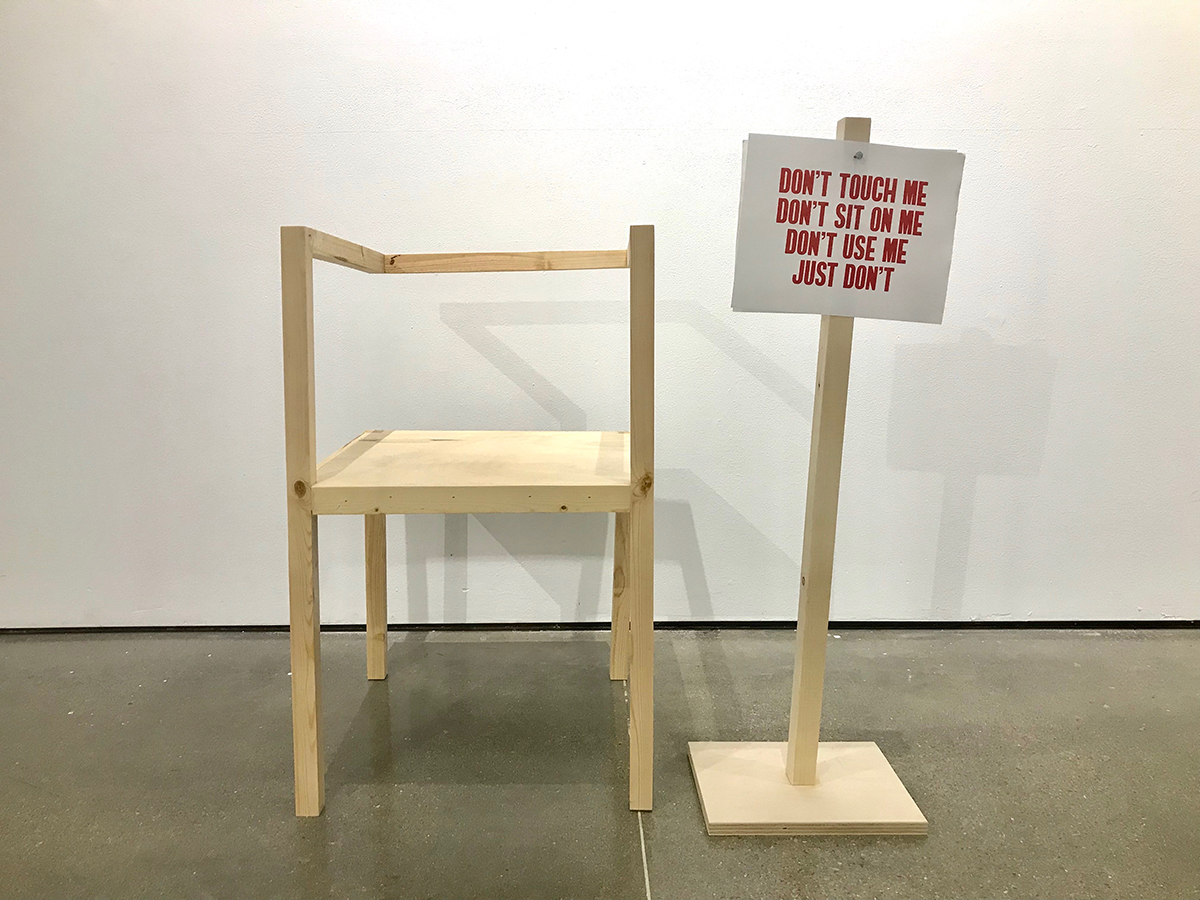 Chair with Consent, woodworking sculpture by Cecilia Schwaber.