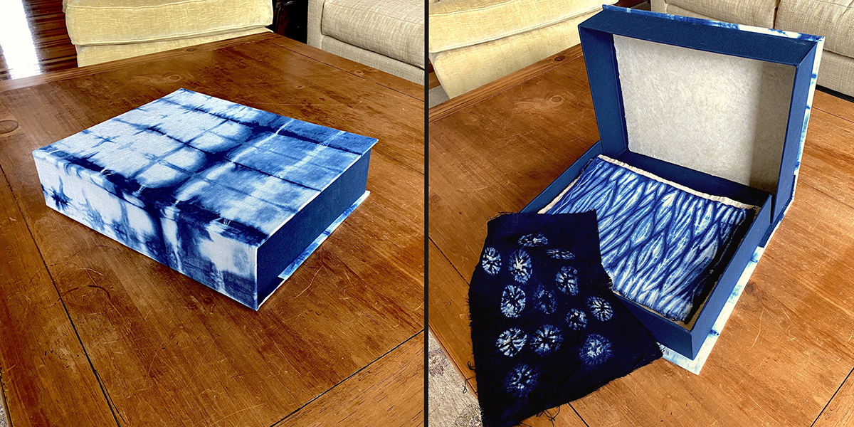 Shibori Box with Dye Samples, artist box and textile art by Elizabeth Shaw Neviaser.