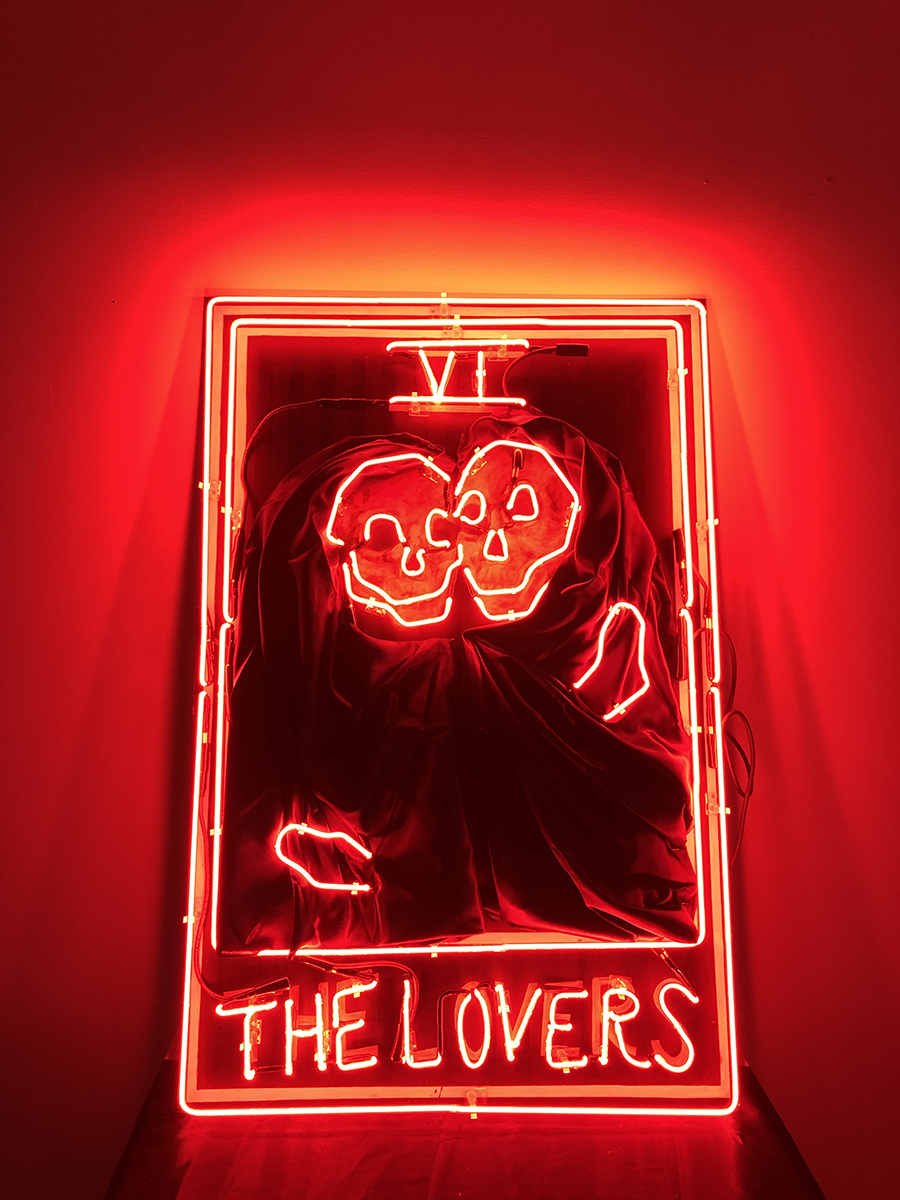 The Lovers, neon, acrylic paint, and satin sheet on wood art by Isabel Monti.