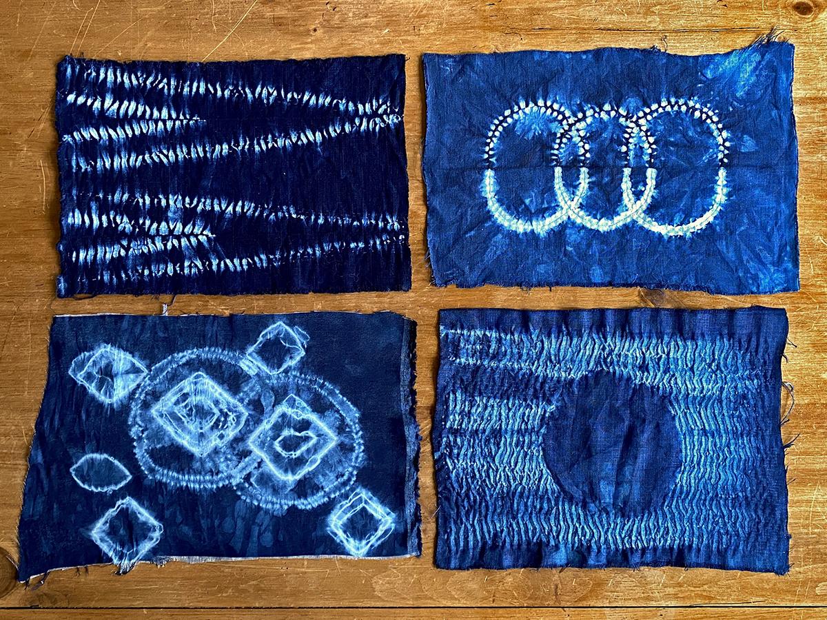 Shibori Dye Samples, textile art by Elizabeth Shaw Neviaser.