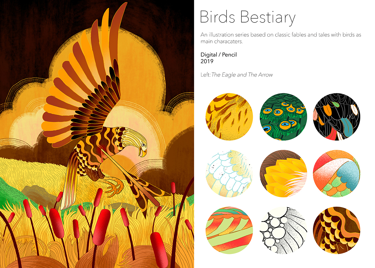 Bird Bestiary, digital and pencil illustrations of Aesop's Fable by Wenxu Zhao.