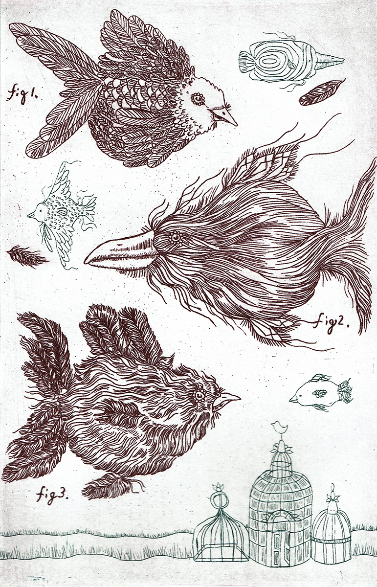 Birdfish, etching by Brooke Leland.